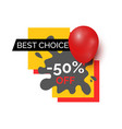 best choice 50 percent sale on products of shop vector image vector image