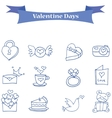 Blue icon valentine days collection vector image vector image
