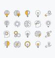 brainstorm icons set artificial light brain vector image