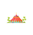 building big top circus awning and palm trees vector image
