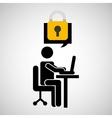 business man silhouette user laptop on desk vector image vector image