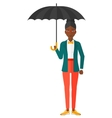 Business woman standing with umbrella vector image vector image