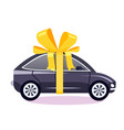 car as a gift with a bow vector image vector image