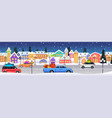cars with gift boxes driving road over winter city vector image vector image
