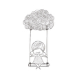 Cartoon girl swinging on a cloud art drawing by ha vector image vector image
