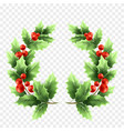 christmas holly wreath realistic vector image vector image