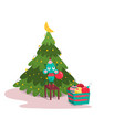 cute mouse decorating fir-tree colorful balls vector image