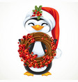 cute penguin in santa hat hold new years vector image