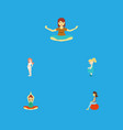 flat icon pregnancy set of fitness yoga vector image vector image