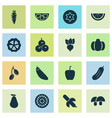 food icons set with carrot gherkin lime and vector image