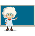 funny professor pointing to blackboard cart vector image