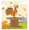 funny turkey bird cartoon character vector image vector image