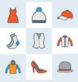 garment icons colored line set with hat pompom vector image