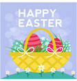happy easter basket eggs blue background im vector image