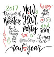 happy new year calligraphic set with handwriting vector image vector image