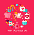 happy valentines day postcard vector image vector image