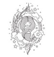little beautiful mermaid holding her long vector image