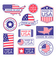 made in usa label american flag proud stamp made vector image vector image