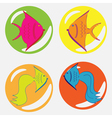 monochrome icon set with fish vector image vector image