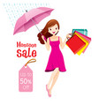monsoon sale woman under umbrella jumping vector image