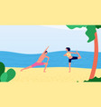 morning yoga on beach man woman workout near vector image vector image