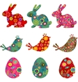 patterned bunnies birds and eggs vector image