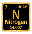 periodic table element nitrogen icon vector image vector image
