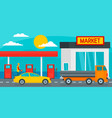petrol station with market background flat style vector image