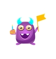 Purple Toy Monster With Horns Holding Flag And vector image vector image