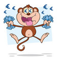 rich monkey cartoon character jumping with cash mo vector image vector image