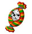 scary candy skull head cartoon vector image