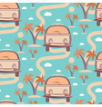 Seamless pattern of retro Bus with surfboard in vector image vector image
