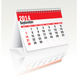 september 2014 desk calendar vector image vector image