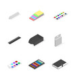 set icons office and school flat 3d isometric vector image vector image