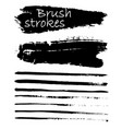 Set of black paint ink brush strokes brushes