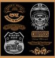 set vintage motorcycle t-shirt prints emblems vector image vector image