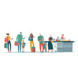 shop queue people customers standing in long line vector image vector image