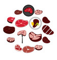 steak icons set flat style vector image vector image