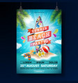 summer beach party flyer design with flower beach vector image vector image