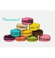 Sweet Tasty Drawn Macaroons Isolated on White vector image vector image