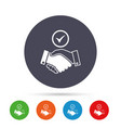 tick handshake sign icon successful business vector image