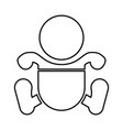 toddler boy with diapers black icon vector image vector image