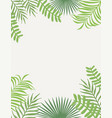 tropical frame green leaves white background vector image vector image