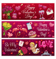 valentines day love holiday hearts gifts and ring vector image vector image