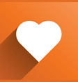 white heart long shadow icon on orange background vector image vector image