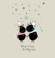 winter card with couple cute moose vector image vector image