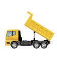 yellow dump truck isolated on a white background vector image vector image