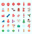 flat christmas new year xmas icons vector image