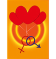 Two gender sign with three hearts vector image