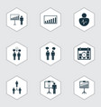 administration icons set with team building idea vector image vector image